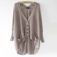 A 072902 n Lazy loose bat hollow sweater
