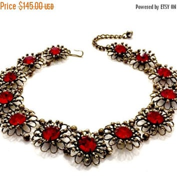 Napier Flower Choker Necklace, Die Stamped Open Metalwork Florets, Red Rhinestone Centers, Oxidized Silver Tone, Vintage, Signed Book Piece