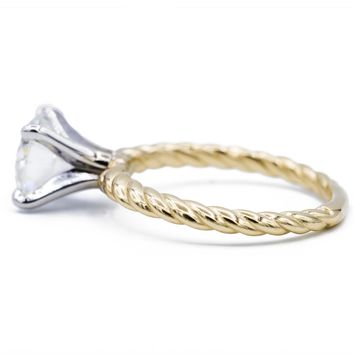 6.5mm ROUND MOISSANITE TWO-TONE 14K WHITE GOLD 4 PRONG PEG AND YELLOW GOLD BRAIDED ROPE SOLITAIRE RING