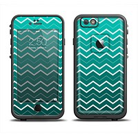 The Teal Gradient Layered Chevron Apple iPhone 6 LifeProof Fre Case Skin Set