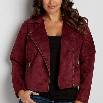 plus size faux suede moto jacket in burgundy | maurices