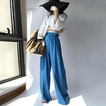 Wide Leg High Waist Ruched Thin Maxi Trousers