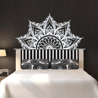 Half Mandala Vinyl Decal for Bedroomr Yoga Studio Bohemian Boho Sticker Headboard House Home Decoration Livingroom Window WW-98