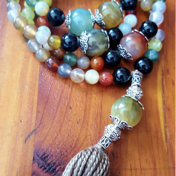 ABUNDANCE LUCK 108 Bead Mala 108 Mala Beads Prayer Beads Multicolor Agate Green Jade Necklace Gray Tassel Necklace Yoga Colorful Chakra Mala