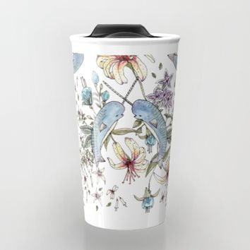 Narwhal pattern Travel Mug by Brooke Weeber | Society6