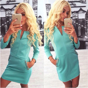 V-neck Slim Long Sleeves Pocket Bodycon Short Dress