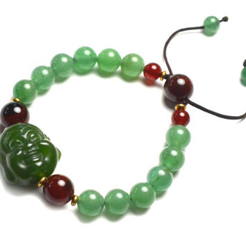 Live in Joy Cute Happy Buddha Green Jade Amulet Bracelet