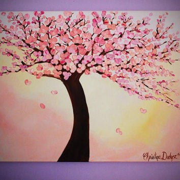 Cherry Blossom Painting, Large Wall Art, Canvas Art, 3D Art, Painting on Canvas
