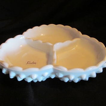 Fenton white hobnail milk glass 3 section divided relish candy dish