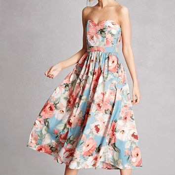 Floral Sweetheart Midi Dress