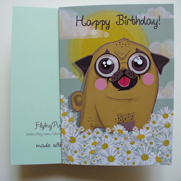 Pug Card, Pug Happy Birthday Card, Funny Dog Illustration Card, Spring Floral Card with Daisies, Cute Birthday Flowers Gift, Dog Lovers Card