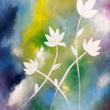 White Fantasy - Modern Original Abstract Colorful Painting, white flowers painting, spring decor multi colored canvas art gorgeous gift idea