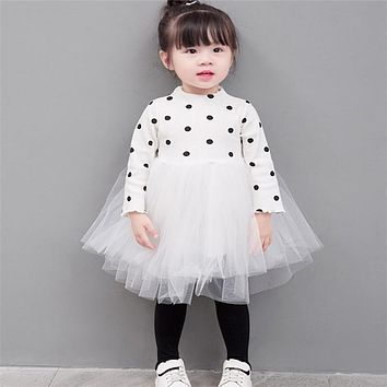 Kids Girls Flower Girl Dress Princess Party Pageant Formal Dress Long Sleeve Autumn Spring Lace Tulle Dress