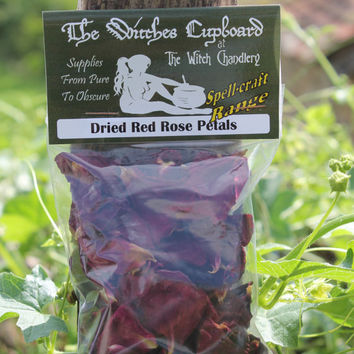 Dried rose petals, red petals for love spells, love charms, incense making, potpourri supplies, natural confetti for handfastings weddings