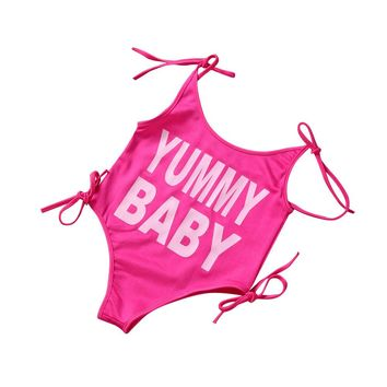 bikini 2017 swimsuit swimwear Toddler Kids swimwear Baby Girls Letter Print One Piece bathing suit swimsuits Beach wear Apr18