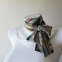 Navy Blue Skinny Scarf, Colorful Pattern Chiffon Scarf, Long Thin Scarf with Angled Ends, Neck Tie, Headband, Narrow Scarf, Womens Fashion
