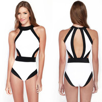 Sexy Women black white bathing suit push up monokini bandage swimsuit hang neck swimwear high waist cut out bodysuit
