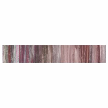"""Ebi Emporium """"Waterfall Blur, Blush Rust"""" Pink Maroon Abstract Stripes Painting Mixed Media Table Runner"""