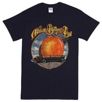Allman Brothers Band Eat A Peach Cover Logo Licensed Adult T-Shirt - Blue - S