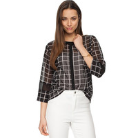 Black and White Plaid Mesh Top