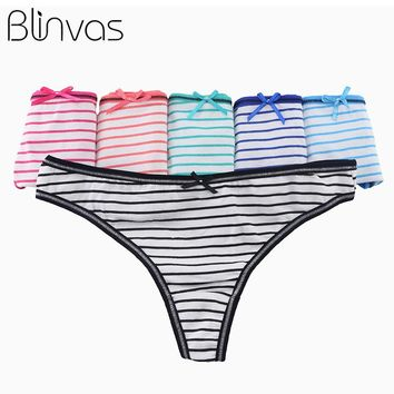 Blinvas 5pcs/lot Panties Cotton Striped Thong H02 Foral Dot Black String Thong Panties String