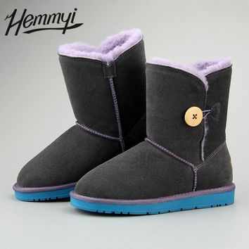 Hemmyi Top Quality Classic Buttons Genuine Leather Cowhide snow Boots Super Warm Wool Winter Boots Australian style Women Shoes