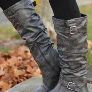 Pewter Grey Double Buckle Boots
