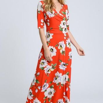 Tropical Flowers 3/4 Sleeve Maxi Dress - Red