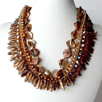Beaded Statement Necklace Brown Chunky by FiveLittleGems on Etsy