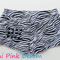 Black and White Zebra Print Denim Studded Shorts by MiniPinkDenim