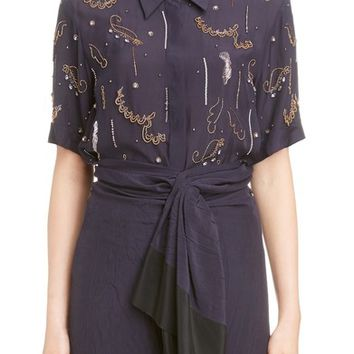 Dries Van Noten Embellished Camp Shirt | Nordstrom