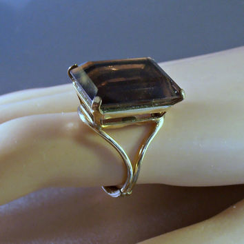 Topaz Cocktail Ring, 12K Gold Filled, Large Emerald Cut Princess Setting, Size 8