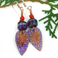 Purple Red Flower Earrings, Boho Copper Floral Lampwork Coral Jewelry