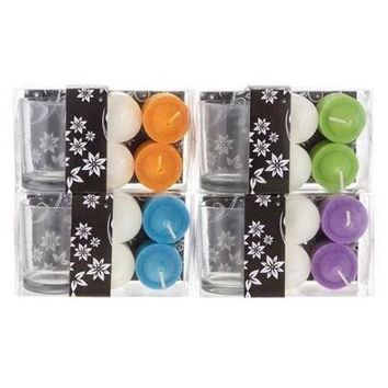 4 piece Votive Candle with Glass Holder in Clear Box - Assorted