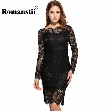 Romanstii Lace Dress Women 2017 Party Robe Sexy Long Sleeve Off Shoulder Backless Floral Hollow Out Short Bodycon Pencil Dresses