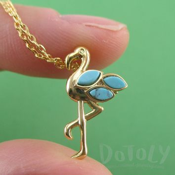 Flamingo Standing on One Leg Shaped Pendant Necklace in Gold with Turquoise Beaded Detail