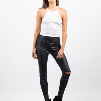 Ripped Knees Leather Leggings