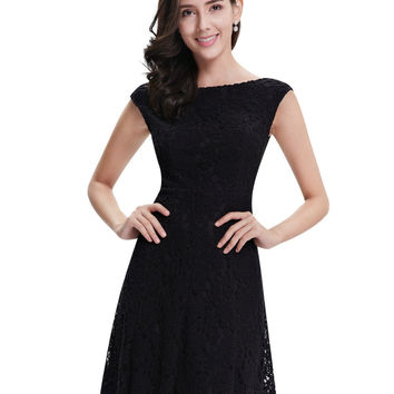 Ever Pretty Cocktail Dresses AP05331BK  Women's Fashion Lace Round Neck A Line Short Black Cocktail Dresses 2017