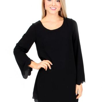 Hey Pretty Girl Black Scalloped Shift Dress | Monday Dress Boutique