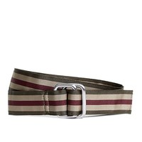 Green and Burgundy Striped Ribbon Belt - Brooks Brothers
