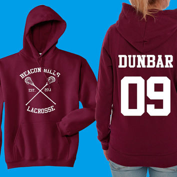 Teen Wolf Hoodie, Beacon Hills Lacrosse Hoodie, Dunbar 09, Teen Wolf Hooded Sweatshirt Size S - 4XL - Stilinski, McCall, Hale, Available