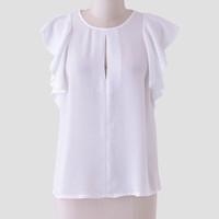 Mariposa Flutter Blouse In White