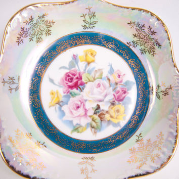 Vintage Iridescent Bowl Lusterware Dish Made in Japan Hand Painted Roses Gold Accents Square Floral Plate Candy Dish Vanity Trinkets