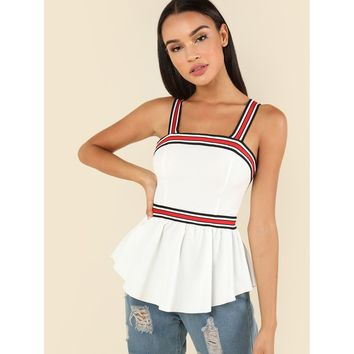 Thick Strap Striped Pep Shell Top