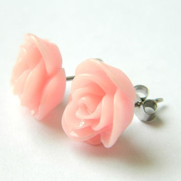 Earring Studs Rose Light Pink Resin by PushTheButtons on Etsy