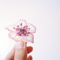 Lace Ring for Bridesmaids, For Women, Pink and Dusty Rose color Flower Ring