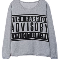 ROMWE | ADVISORY Print Grey Sweatshirt, The Latest Street Fashion