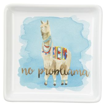 No Probllama Watercolor LLama Trinket Tray
