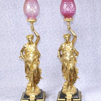Canonbury - Pair French Ormolu Gregoire Classic Figurine Lamps Lights Torcheres