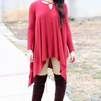 Crossed My Heart Strappy Handkerchief Tunic {Burgundy} Extended Sizes